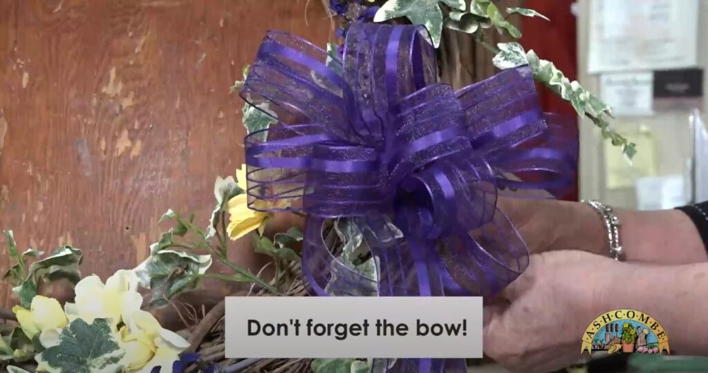 Don't forget the bow for your spring wreath