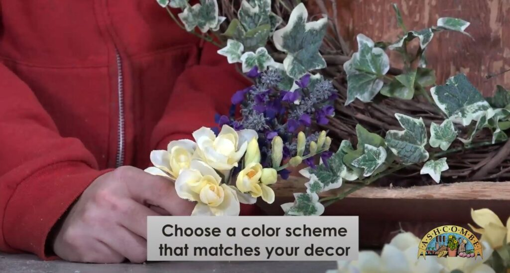 Choose a color scheme for your spring wreath