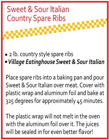 Sweet & Sour Italian Country Spare Ribs with Village Eatinghouse Sweet & Sour Italian