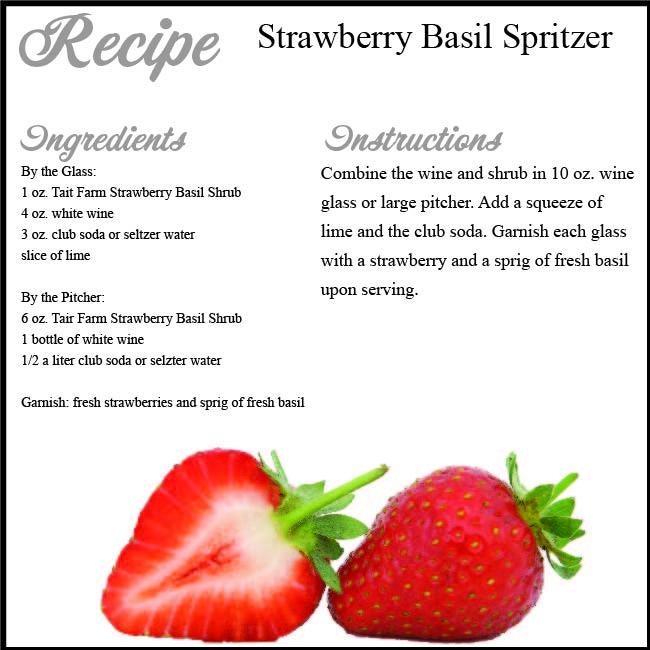 Strawberry Basil Spritzer using Tait Farms Strawberry Basil Shrub