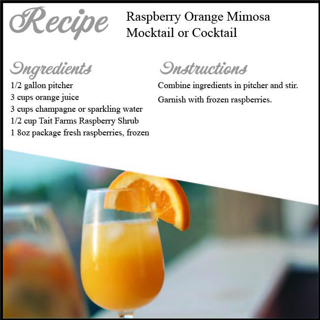 Raspberry Orange Mimosa using Tait Farms Raspberry Shrub