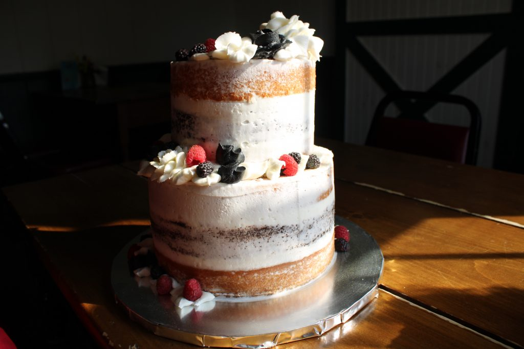 Custom Rustic Wedding Cake with Black and White Buttercream Flowers